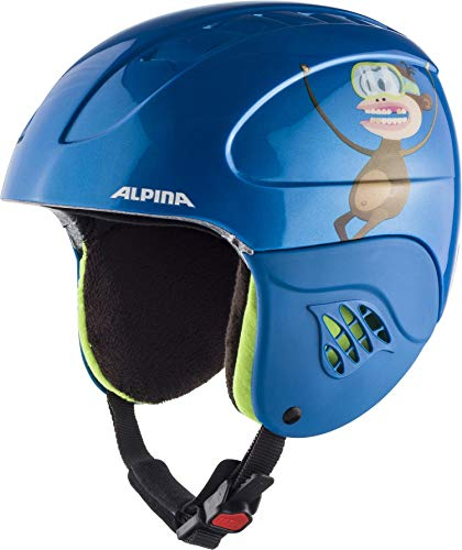 Alpina Kinder Carat Skihelm, Blue-Monkey, 48-52 cm