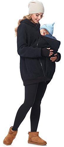 Be Mammy Damen Fleece Übergangsjacke Umstandsjacke BE20-181 (Schwarz, 40)