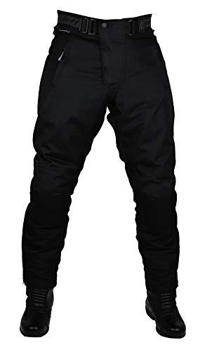 Schwarze Motorradhose mit herausnehmbarem Thermofutter, Protektoren und Weitenverstellung, für Sommer und Winter, Größe XL