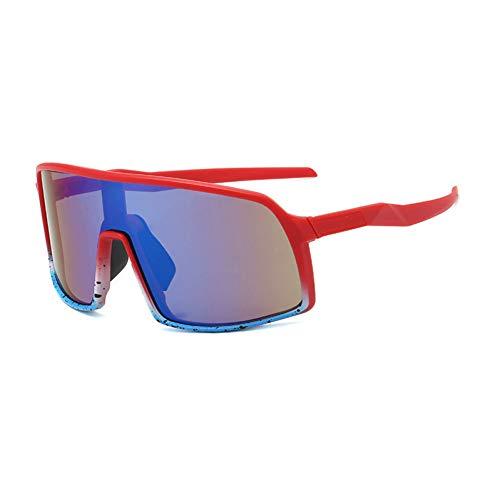 IJEWALRY Frauen Sonnenbrillen Brillen,Windproof Mirrored Men Anti-Fog Schneemobil Brille Brille Bringen Fahren Angeln Square Brille Frauen Summer Shades Eyewear Rot-Blau Spiegel