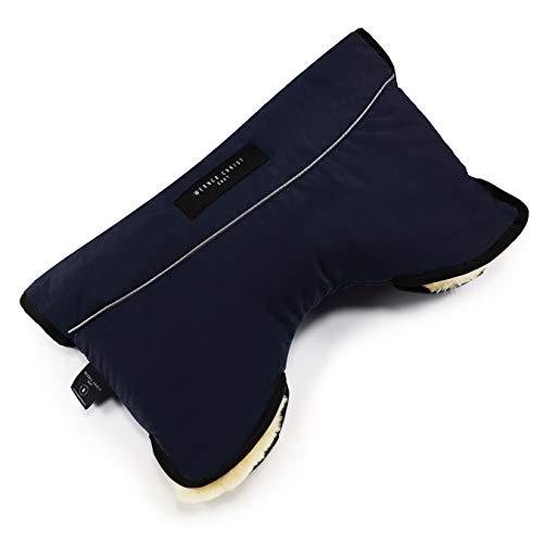 Kinderwagen-Muff aus Lammfell von WERNER CHRIST BABY - MOFFY ist der ideale Handwärmer für Buggys beim Spazieren mit Ihrem Baby, medizinisches Fell, einfache Handhabung, Handmuff in navy blau