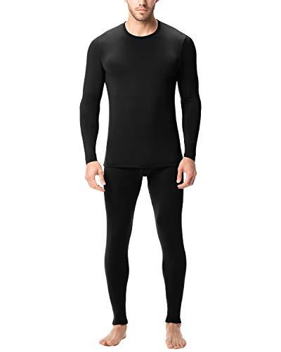 LAPASA Herren Innenfleece Thermounterwäsche Set - Leicht & Mittelgewicht - Ski Funktionsunterwäsche für Winter M11 M57 MEHRWEG (L (letzter Abbildung zufolge), M11:Schwarz (Ultra-dünn) New)