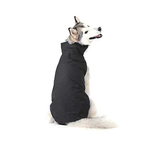 Bwiv Hundemantel Wasserdicht Winter mit Leine Loch Hundejacke Bauch Schützen Haustier Weste Jacke Klettverschluss Leicht Regenmantel Hunde Wintermantel für Mittlere Große Hunde (6XL, Schwarz)