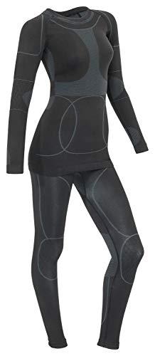 icefeld: Sport Ski- Thermounterwäsche-Set für Damen Seamless (nahtfrei) in schwarz/grau S
