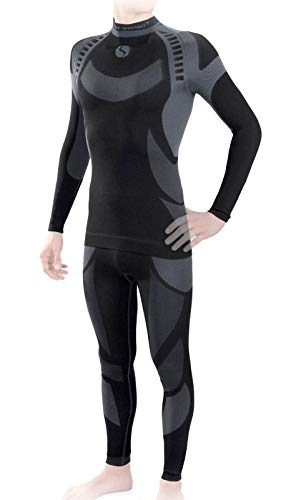 Sesto Senso Herren Funktionsunterwäsche Set Skiunterwäsche Schnelltrocknend Langarmes Unterhemd Funktionsshirt und Lange Unterhose Funktionsleggings Thermoaktiv (XL, Grau Set)