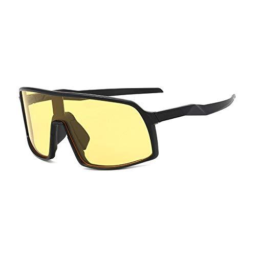 MIRCHEN Winddichte verspiegelte Männer Antibeschlag Schneemobil Brillen Brillen Fahren Angeln Quadrat Brillen Frauen Sommer Shades Brillen Schwarz-Gelb