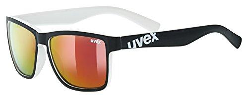 uvex Unisex– Erwachsene, lgl 39 Sonnenbrille, black mat white/red, one size