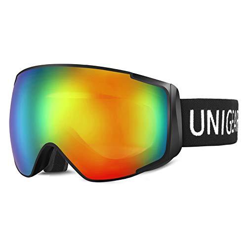 Unigear Skibrille Herren Damen Kinder Snowboardbrille OTG UV-Schutz Anti-Fo, Hyperboloid Schneebrille Augenschutz Anti-Schwindel Helmkompatible für Skifahren Snowboard, Skido X2