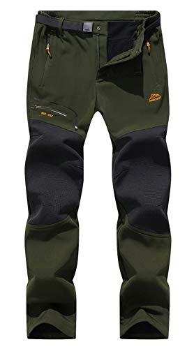 BenBoy Herren Wanderhose Wasserdicht Softshellhose Outdoorhose Winddicht Warm Gefüttert Skihose Snowboardhose Winter Trekkinghose,KZ1602-Armygreen1-L