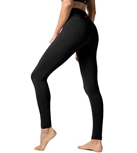 LAPASA Damen Leggings Yoga Sport Pants Lang High Waist L01, Gr.-42/XXL, Schwarz