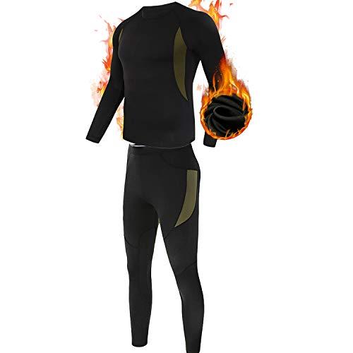 ESDY Thermo-Unterwäsche-Set für Herren, Wicking Long Johns Quick Dry Basisschicht-Sport-Kompressionsanzug für Workout Skifahren Laufen,Schwarz,L
