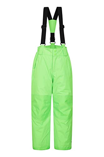 Mountain Warehouse Raptor Skihose für Kinder - Taschen, schneedichte Hose, abnehmbare Träger & Reißverschluss am Knöchel, Verstärkte Knie - Ideal für Jungen und Mädchen Limette 140 (9-10 Jahre)
