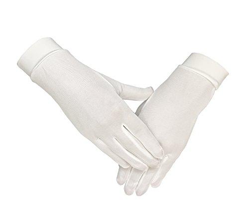 Lsharon Handschuhe, 100 % Maulbeerseide, Thermo-Innenhandschuhe, Ski- und Fahrradhandschuhe Gr. 85, weiß