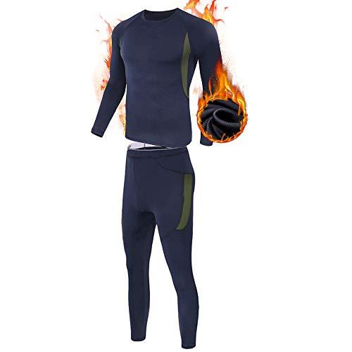 ESDY Thermo-Unterwäsche-Set für Herren, Wicking Long Johns Quick Dry Basisschicht-Sport-Kompressionsanzug für Workout Skifahren Laufen,Blau,XL