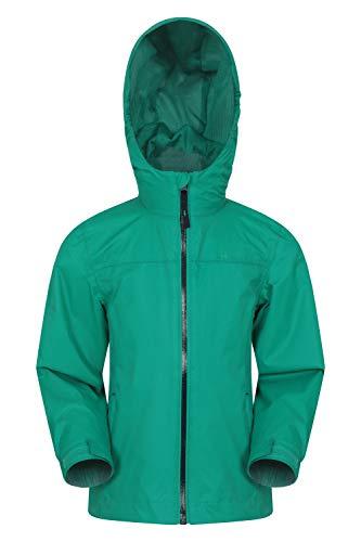 Mountain Warehouse Torrent wasserdichte Kinderjacke - versiegelte Nähte, Reißverschlusstaschen, verstellbare Funktionen - ideal zum Reisen, Campen, Wandern, Frühling Hellgrün 11-12 Jahre