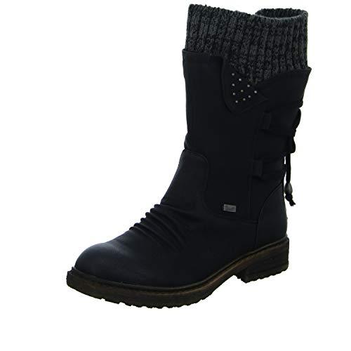 Rieker 94773 Damen Winterstiefel,Winter-Boots,Fellboots,Fellstiefel,gefüttert,warm,Reißverschluss,schwarz,42 EU