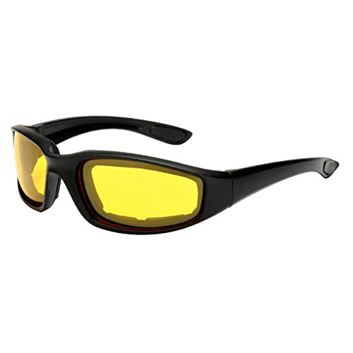 balikha Unisex Schnee Brille Winddicht 100% UV Schutz, Radfahren Motorrad Schneemobil Brille, Outdoor Sport Mähen Brille - Gelb