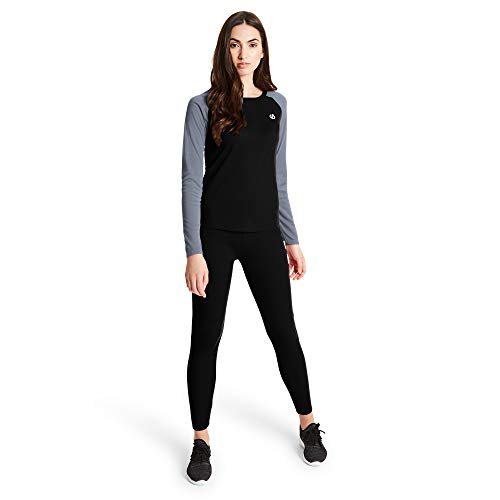 Dare 2b Damen Exchange Fast Wicking & Quick Drying Thermal Ski & Snowboard Active Base Layer Set with Anti-Bacterial Odour Control Treatment Funktionsunterwäsche, Black/Ebony Grey, 20