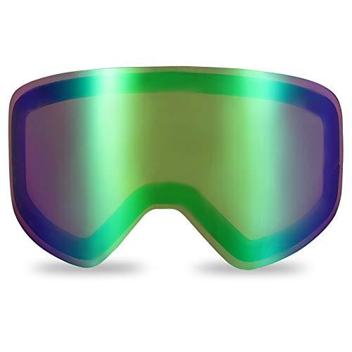 devembr Rosa-grüne Torische Scheibe für zylindrisch Skibrille PRO, Magnetische Wechsellinse, Rahmenlose Snowboard-Brille Antibeschlag, UV-Schutz, für Skilauf Schneemobil Skating (NUR Linse, VLT 45%)