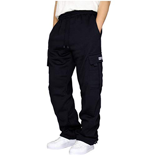 BUKINIE Herren Cargo Pants Loose Fit Casual Jogger Hose Chino Hose Big and Tall Sport Jogging Sweatpants Elastische Taille Gr. XXXX-Large, Schwarz