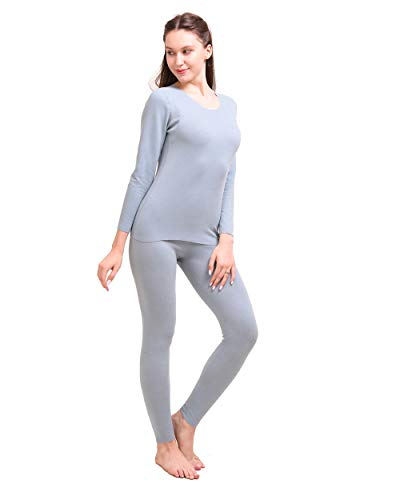 Thermounterwäsche Funktionsunterwäsche Damen Set Ski Funktionsunterwäsche Warm Weich Rundhals Langarm Thermo Oberteil mit Basisschicht Unterhose,Light Blue,XXXL