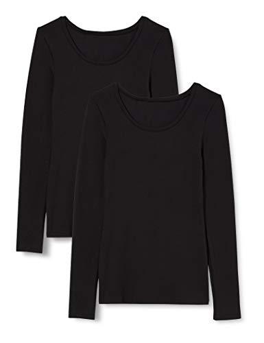 Iris & Lilly Damen Extrawarmes Thermo-Unterhemd mit Langen Ärmeln, 2er-Pack, Schwarz (Black), XL, Label: XL
