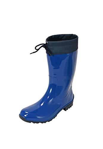 Regenliebe Damen Gummistiefel de Fieselregen Regenstiefel Langschaft, Farbe:Kobalt, Größe:40 EU