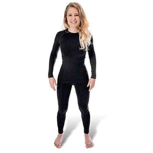 Black Snake Funktionsunterwäsche Damen Thermo Unterwäsche Lange Unterhose + Langarm Unterhemd Seamless - S/M - Schwarz