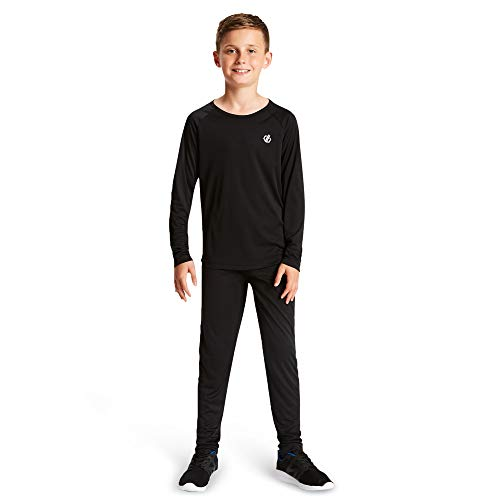 Dare 2b Kinder Elate Lightweight Fast Wicking Quick Drying Performance Ski and Snowboard Active Outdoor Base Layer Set with Anti-Bacterial Odour Control Treatment Baselayer, Schwarz (Black), 7-8