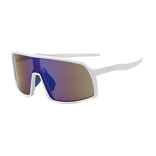 IJEWALRY Frauen Sonnenbrillen Brillen,Windproof Mirrored Men Anti-Fog Schneemobil Brille Brille Bringen Fahren Angeln Square Brille Frauen Summer Shades Eyewear White-Blue Mirror