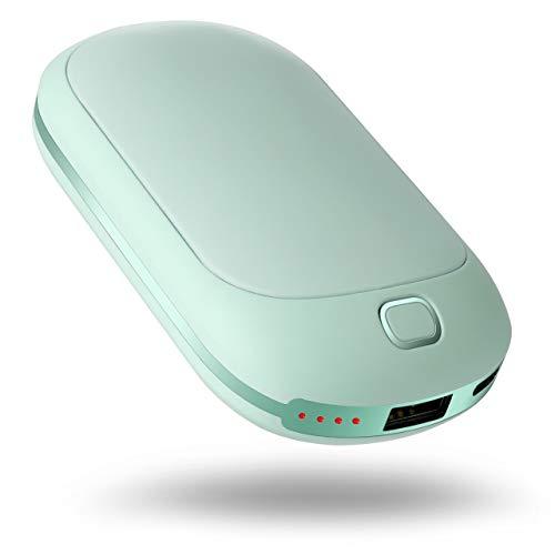 COMLIFE Handwärmer USB Powerbank, Wiederaufladbare Handwärmer Taschenwärmer USB Doppelseitige Heizung mit 4 Heizstufen, 5200mAh Externe Ladegerät Akku für Smartphones, Tablets, Handy -Blau