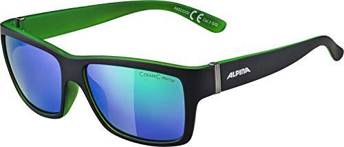 ALPINA Unisex - Erwachsene, KACEY Sonnenbrille, black matt-green, One size