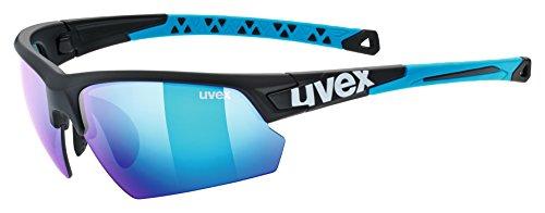 uvex Unisex– Erwachsene, sportstyle 224 Sportbrille, black mat blue/blue, Einheitsgröße