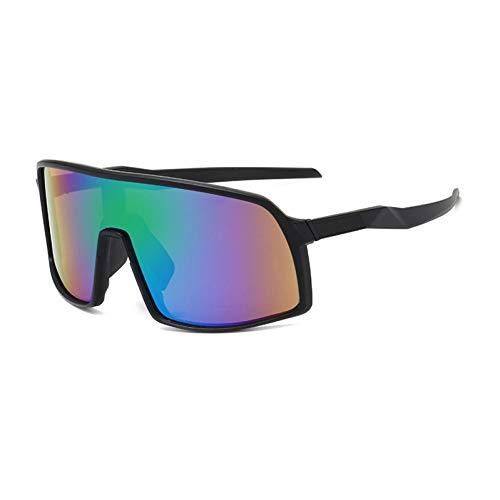 IJEWALRY Frauen Sonnenbrillen Brillen,Windproof Mirrored Men Anti-Fog Schneemobil Brille Brille Bringen Fahren Angeln Square Brille Frauen Summer Shades Eyewear Black-Green Mirror