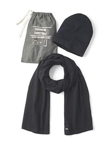 TOM TAILOR Herren Accessoire Mütze und Schal mit Kaschmir-Anteil Knitted Navy Melange,ONESIZE,13160,6000