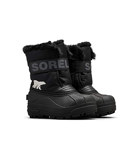Sorel Unisex-Kinder-Winterstiefel, CHILDRENS SNOW COMMANDER, Schwarz (Black, Charcoal), Größe: 25