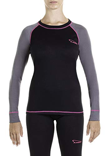 XAED Damen Thermo Skiunterwäsche Langarmshirt, Schwarz (Black/Anthracite/Fuchsia), M