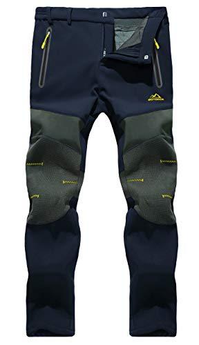 MAGCOMSEN Magcommen Herren Winterhose mit verstärktem Knie, 3 Reißverschlusstaschen, Fleece gefüttert, Wandern, Schneehose - blau - 50