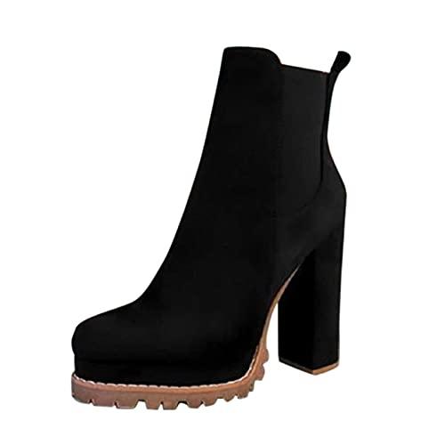 BOOMJIU Winterstiefel Damen Hohe Stiefel Leopard Dicke Fersenstiefel Stiefeletten Freizeitschuhe Schlupfstiefel Sockenstiefel Römische Schuhe High Heels Chelsea Boots mit Blockabsatz