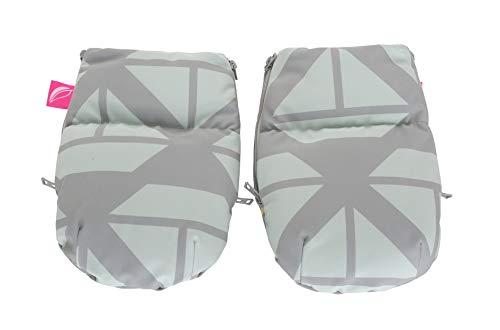 1 Paar Handwärmer Muffs für Kinderwagen - aus Softshell (Schiffe mintgrün)