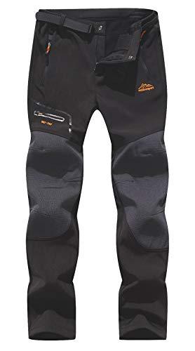 BenBoy Herren Wanderhose Wasserdicht Softshellhose Outdoorhose Winddicht Warm Gefüttert Skihose Snowboardhose Winter Trekkinghose,KZ1602-Black1-XL