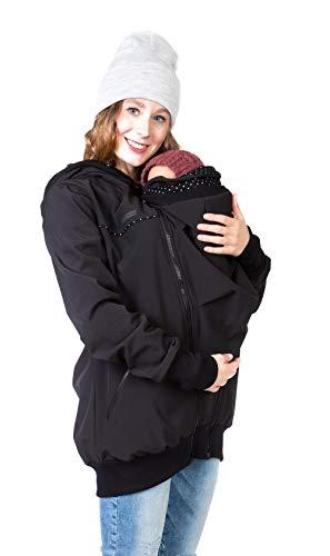 Viva la Mama Tragejacke Rückentrage Baby hinten und vorn tragen Regenjacke Windjacke Softshell Mantel Umstandsjacke - AVENTURIS schwarz Punkte - M