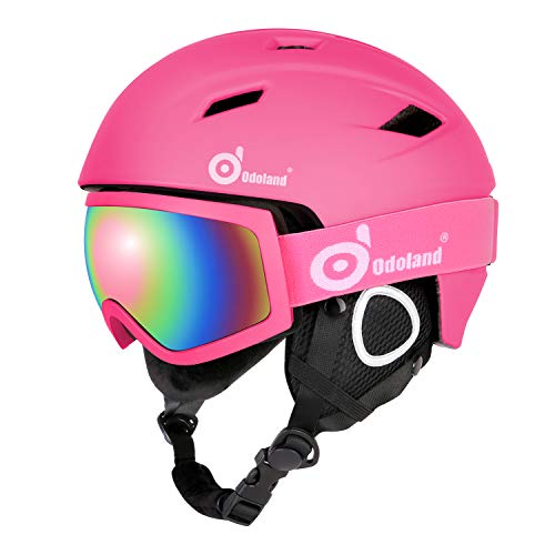 Odoland Skihelm und Skibrille Set, Snowboardhelm mit Snowboardbrille für Erwachsene und Kinder, Schneebrille UV 400 Schutz Windwiderstand Snowboard Brille zum Skifahren Bergsteigen Rosa XS-48-50cm