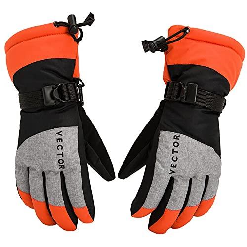 UKKO Winterhandschuhe, extra dick, warm, wasserdicht, Ski-Handschuhe, winddicht, für den Winter, Outdoor, Sport, Snowboard, Schneemobil, Motorrad, Reiten, Skid-Proof-Orange, Größe M
