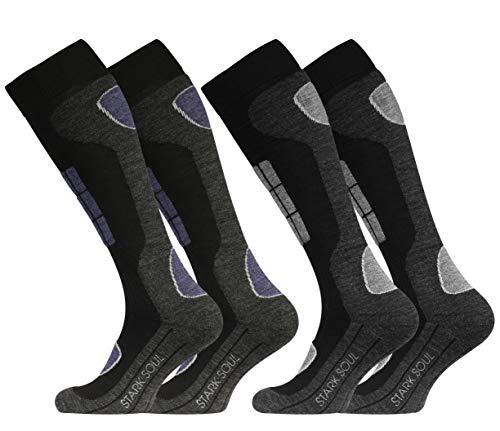 STARK SOUL Ski Funktionssocken, Wintersport Socken mit Spezial Polsterung, Schwarz-anthrazit mit Hellgrau & Jeansblau, 39/42, 2 Paar
