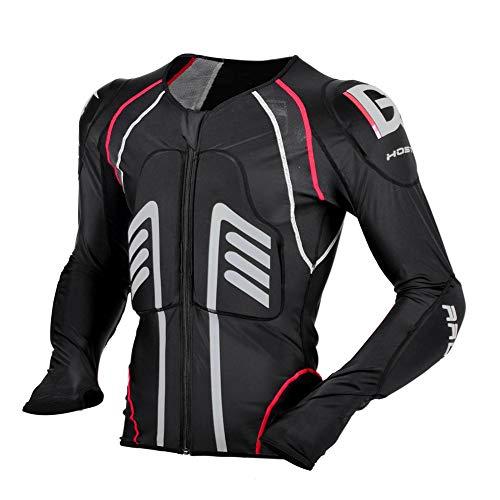 TZTED Motorrad Protektorenhemd Unterziehjacke mit Protektoren Schutzjacke Hemd Brustschutz Fallschutz,Schwarz,M