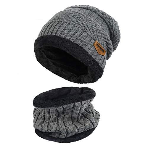 Vbiger Wintermütze Strickmütze Warme Beanie Winter Mütze und Schal mit Fleecefutter für Damen und Herren,Grau,Einheitsgröße