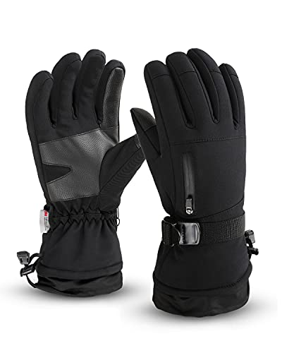 Frlozs Ski- und Schnee-Handschuhe, wasserdicht, isoliert, 3M Touchscreen-Thermo-Handschuhe, Motorradhandschuhe für Herren und Damen, Schneemobil-Handschuhe, Snowboarden, Größe XL