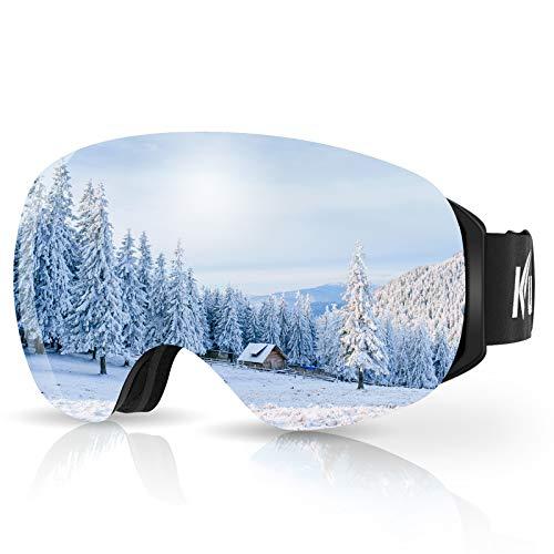 KUYOU Skibrille Ski Goggles Snowboardbrille Doppel-Objektiv Anti-Fog Rahmenlose OTG UV400 Schutz Schneebrille Helmkompatible Magnetisch Wechselobjektive Brille Für Damen Herren Snowboard Skifahren