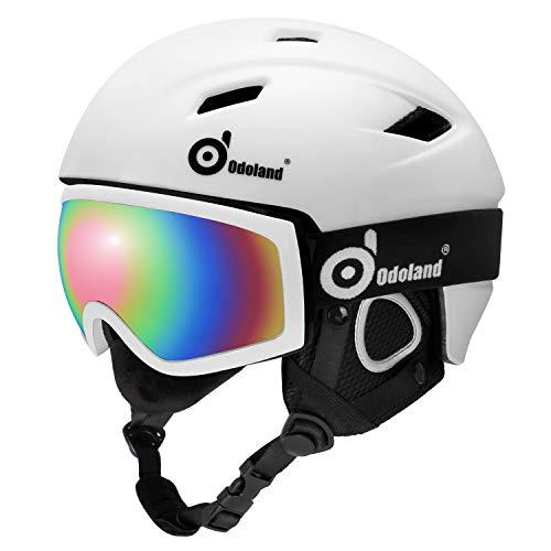 Odoland Skihelm und Skibrille Set, Snowboardhelm mit Snowboardbrille für Erwachsene und Kinder, Schneebrille UV 400 Schutz Windwiderstand Snowboard Brille zum Skifahren und Bergsteigen Weiß L-57-59cm